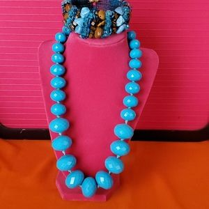 Jewelry - Large Turquoise Blue Beaded Necklace & Bracelet